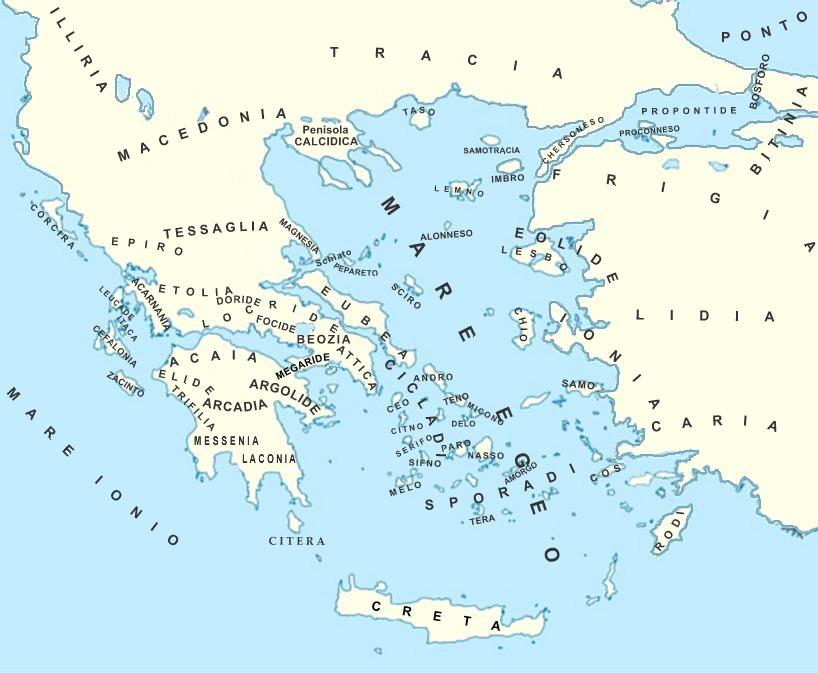 Cartina Della Grecia Con Isole.Regioni E Isole Della Grecia Antica