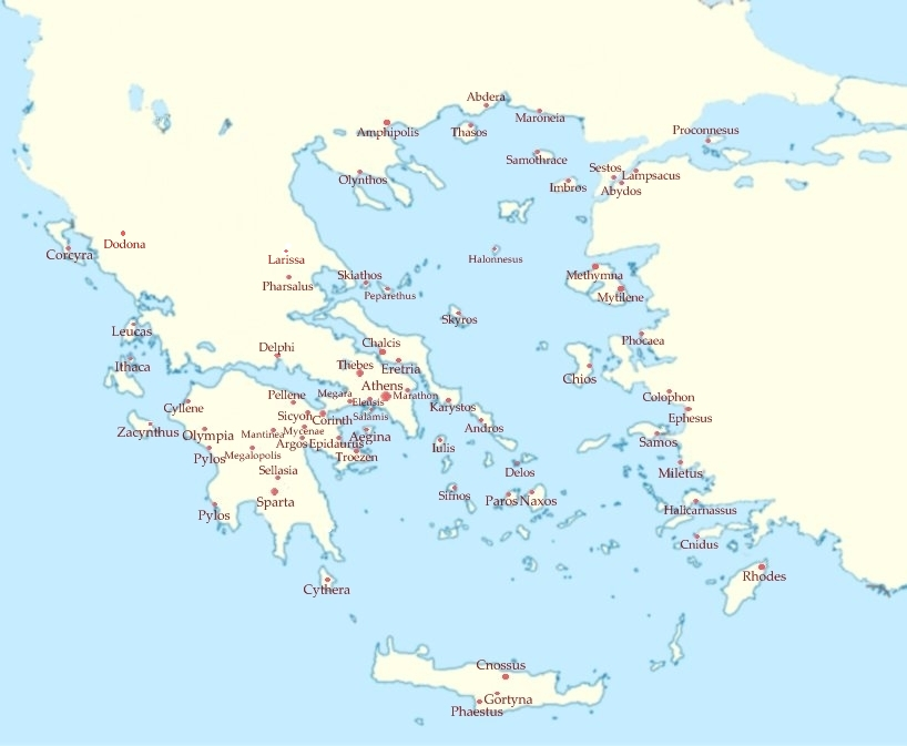 Ancient Greece Map With Cities.Ancient Greece Cities And Towns