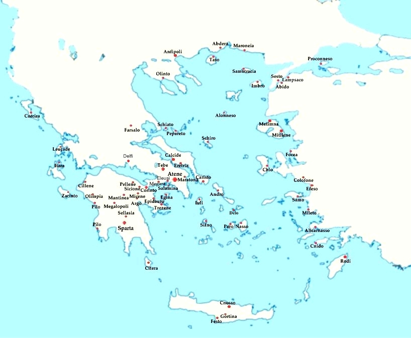 Cartina Della Grecia E Isole In Italiano.Le Citta Della Grecia Antica